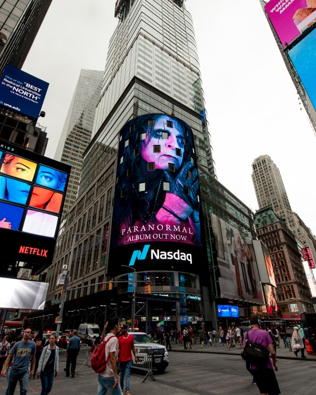 ALICE COOPER Featured On NASDAQ Video Screen In Times Square