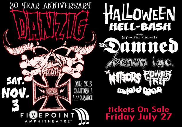 DANZIG To Be Joined By THE DAMNED, VENOM INC., THE METEORS, POWER TRIP At Irvine Concert