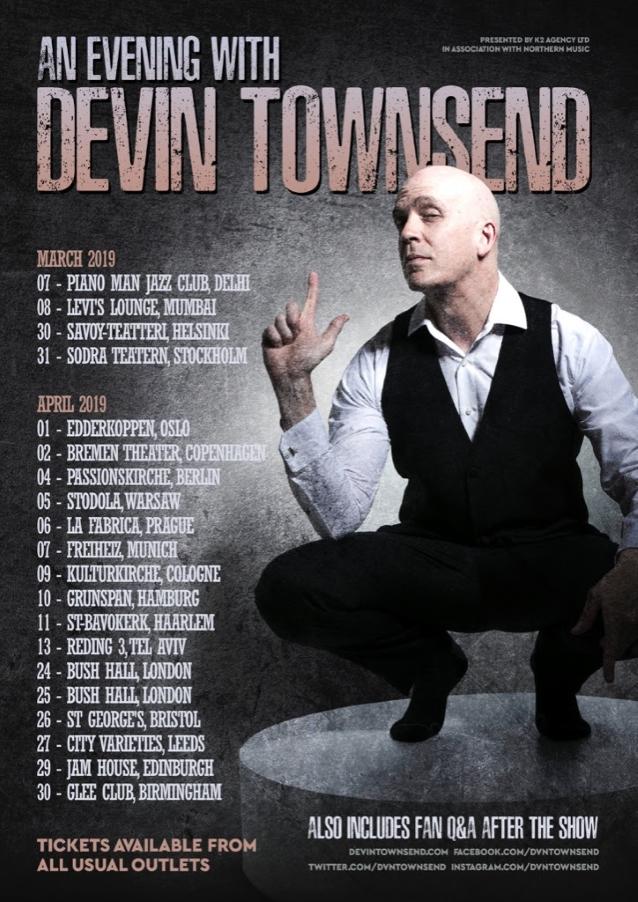 Devin Townsend Announces 'an Evening With' European Acoustic Solo Tour