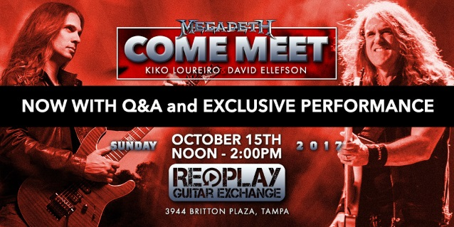 MEGADETH's DAVID ELLEFSON, KIKO LOURIERO: Video Footage Of Replay Guitar Exchange Q&A, Performance