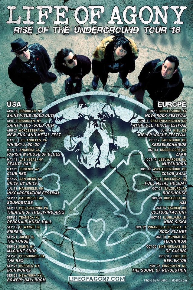 LIFE OF AGONY Announces 'Rise Of The Underground Tour 2018'