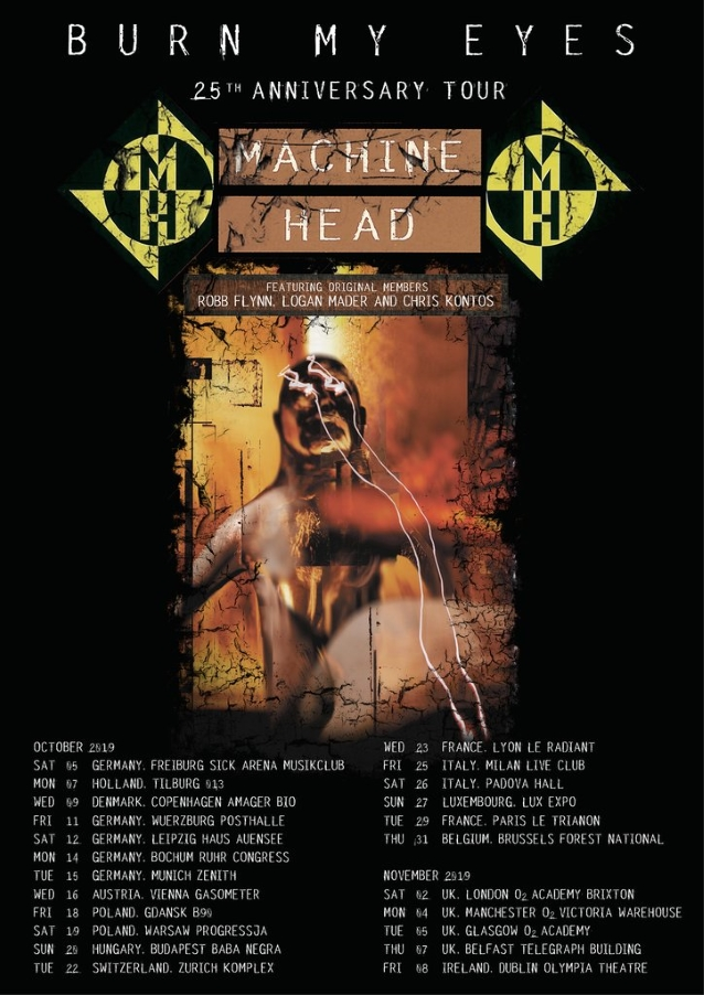 MACHINE HEAD Announces 'Burn My Eyes' 25th-Anniversary European Tour Dates Feat. CHRIS KONTOS, LOGAN MADER
