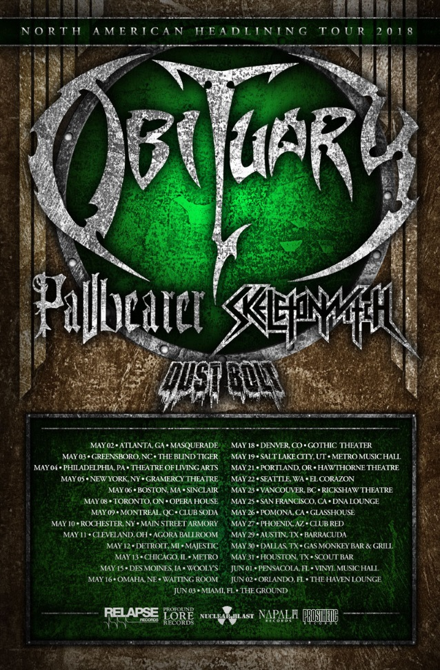 Obituary Announces North American Tour With Pallbearer