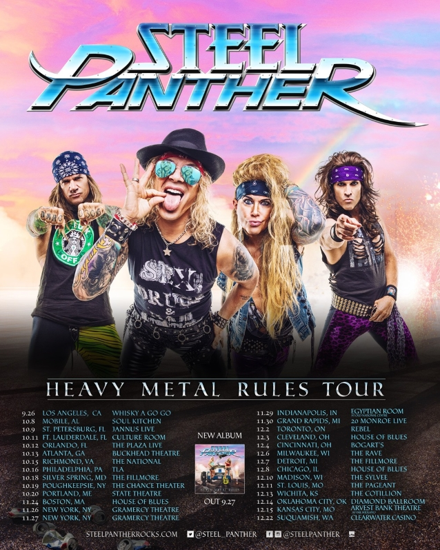 STEEL PANTHER Announces 'Heavy Metal Rules' Fall 2019 U.S. Tour; BLABBERMOUTH.NET Presale Available