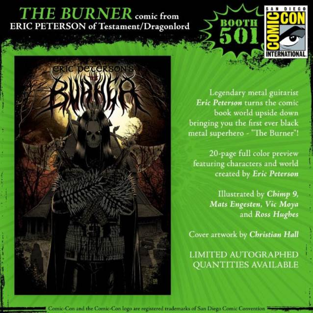 TESTAMENT's ERIC PETERSON To Sign Copies Of His Black Metal-Influenced Comic 'The Burner' At COMIC-CON INTERNATIONAL