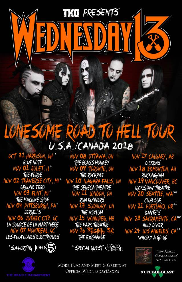 WEDNESDAY 13 Announces Fall 2018 U.S. Tour Dates
